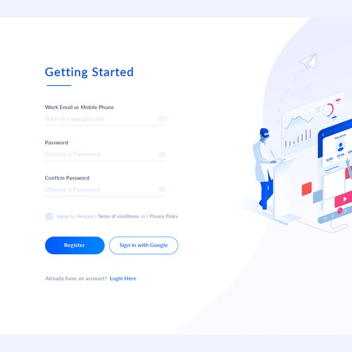 Signup / Login page for marketing web app