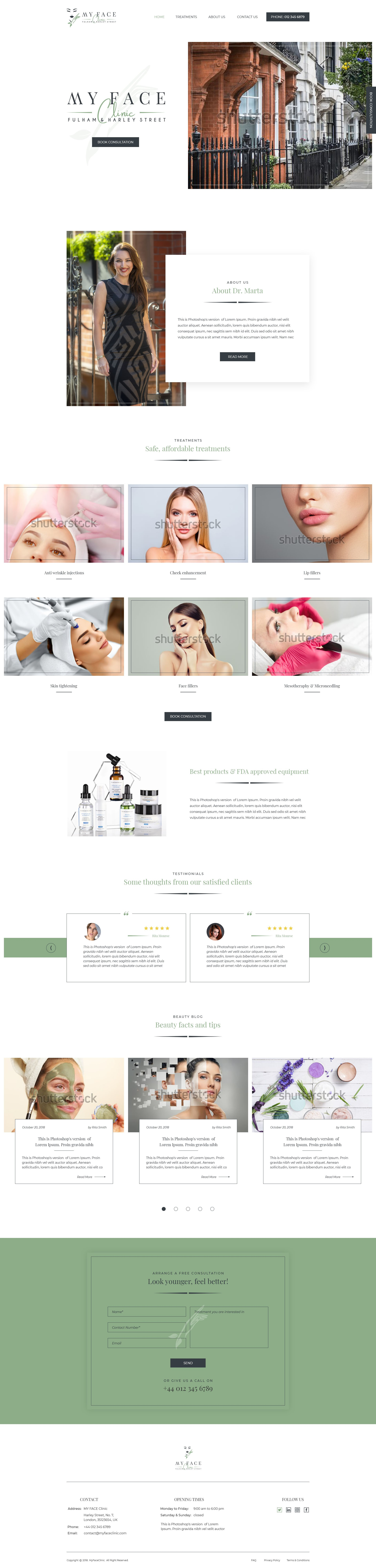 Elegant website for a My Face Clinic in Central London