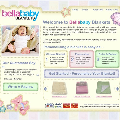 website redesign for baby blanket ecommerce site