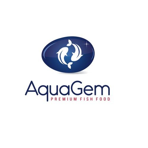 Create a catching logo for AquaGem, a range of premium food for Japanese Koi Carp