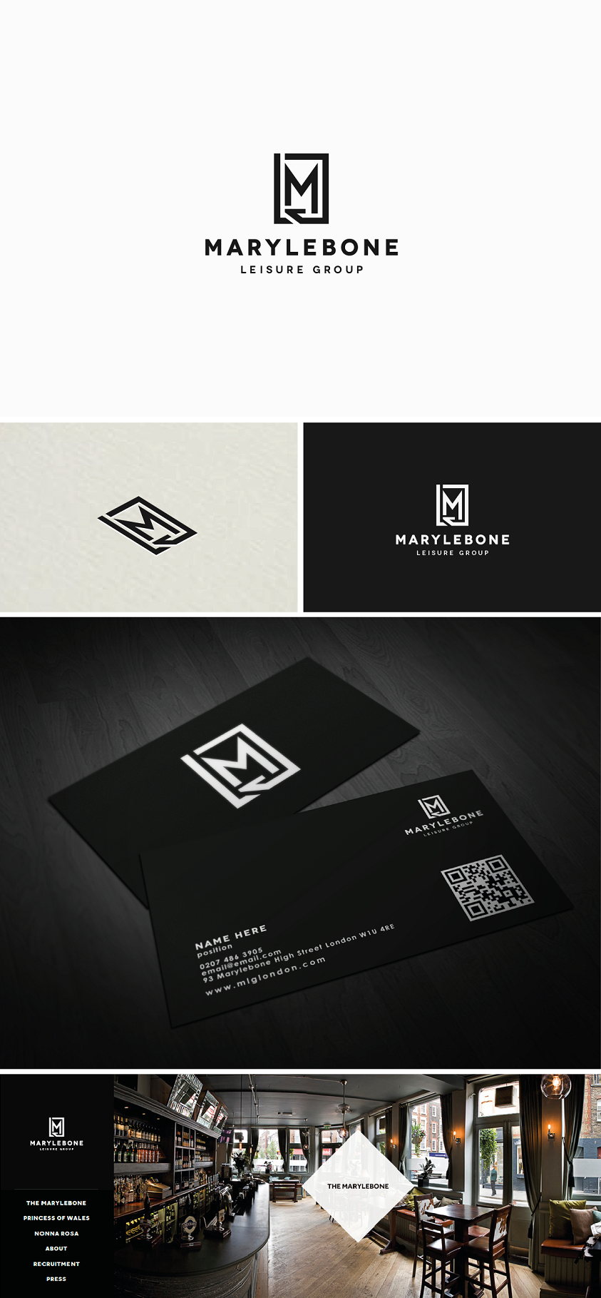 Bars & Pubs Sector - Logo and Business card for Marylebone Leisure Group - MLG
