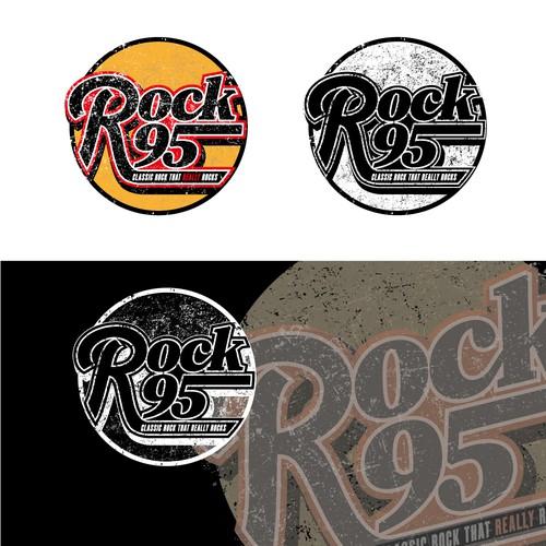 Rock radio station logo design in classic style