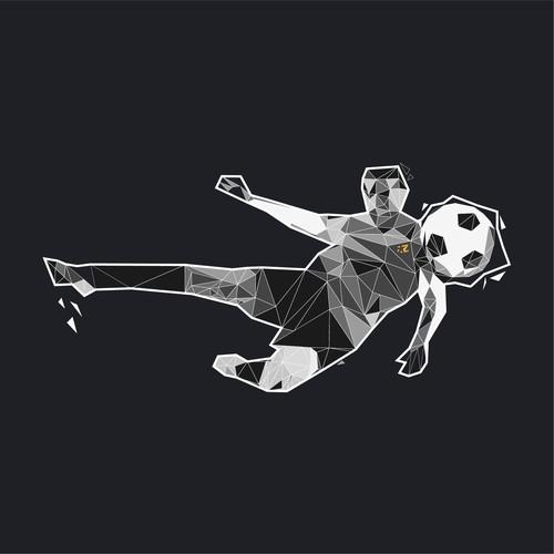 Footballer bicycle kick