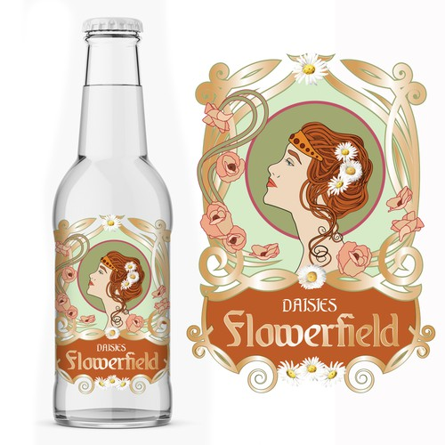Label for lemonade drink in Art Nouveau style