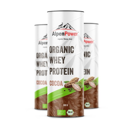 Whey protein label packaging
