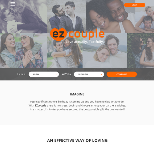 Home page of EZcouple (platform for couples)
