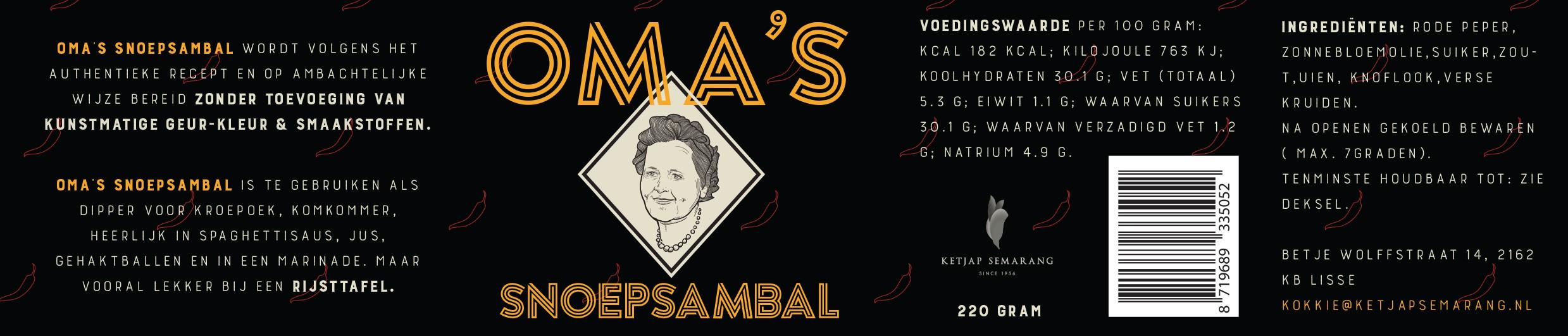 Oma's Snoepsambal wil een spetterend logo welke opvalt tussen andere sambals in de schappen
