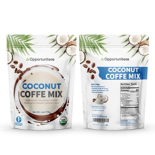 Organic coconut coffee mix packaging