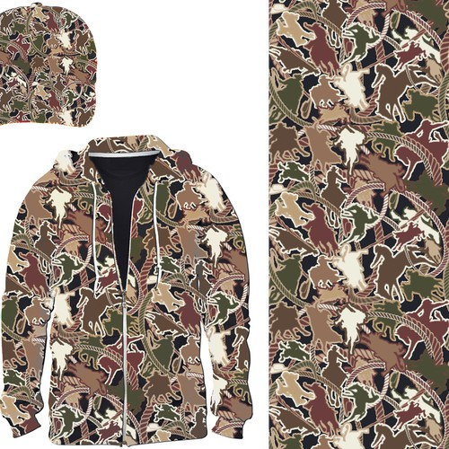 CREATE A RODEO CAMOUFLAGE PATTERN THAT MAKES A STATEMENT