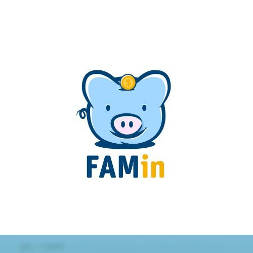 Hand drawn unique piggy Bank Logo.