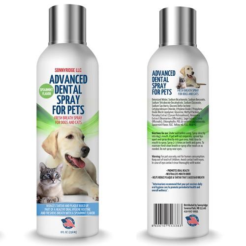 Label design for dental spray