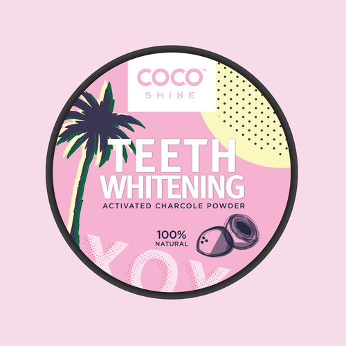 Label design for a beauty brand's teeth whitening powder