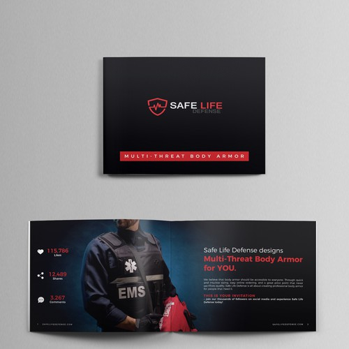 Booklet design for Safe Life Defense Body Armor! - High end and minimalist