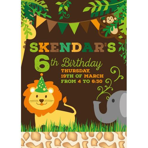 Create a birthday invitation card for a boy age 6 safari themed
