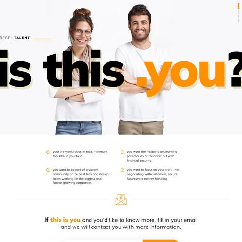Teaser Landing Page for freelance professionals