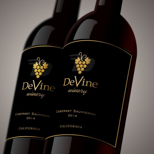 Modern - Classic label design concept for DeVine winery.