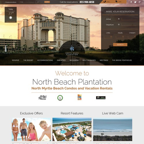 Website design for North Beach Plantation
