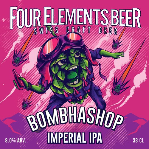 label design for four elements beer