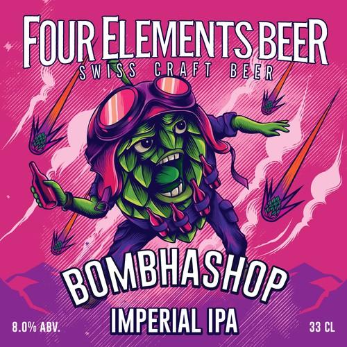 label design for four elements beer
