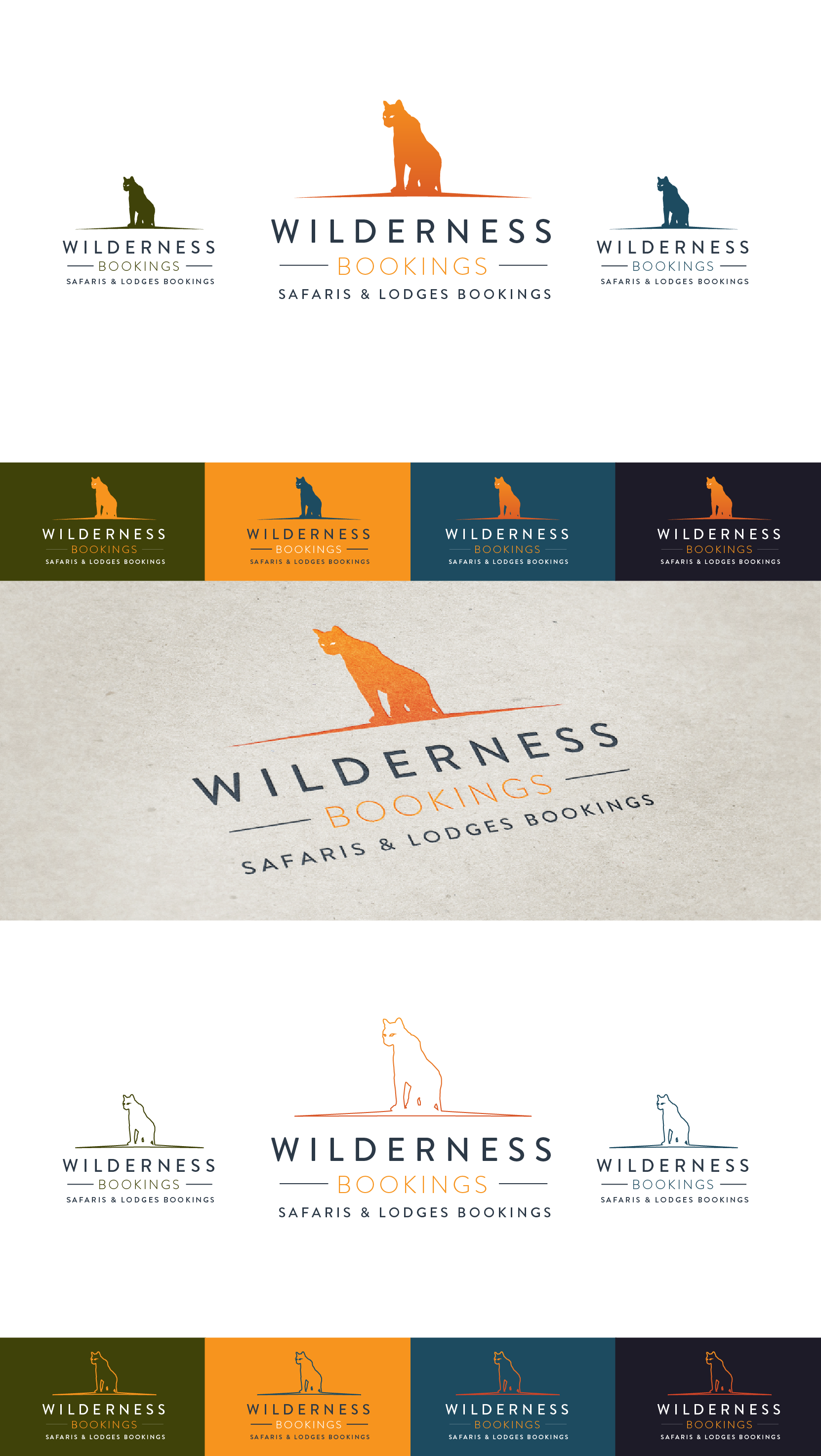 Create a brand identity for a new and powerful online safari company. Wilderness Bookings.
