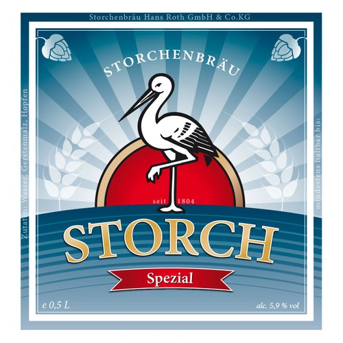 New labels for an old traditional brewery in Germany called Storchenbräu.