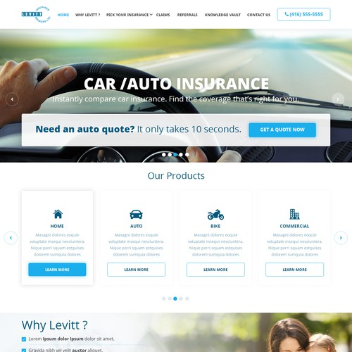 Auto Insurance web UI design