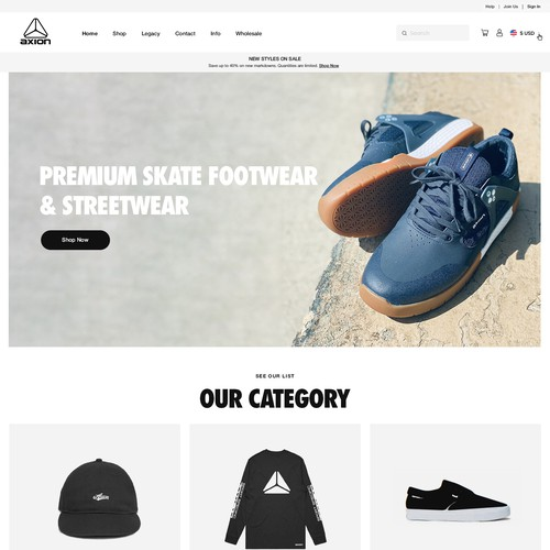 Premium Skate Footwear and Streetwear Brand Website Design & Shopify Implementation