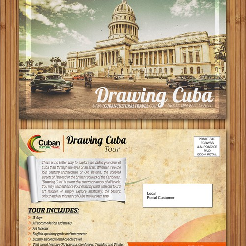 "Post Card for Cuabn Cultural travel ""Drawing Cuba"" tour."