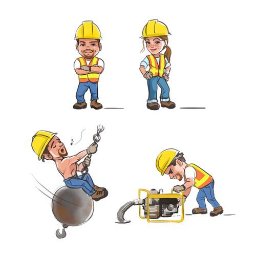Construction worker character/emoji illustrations