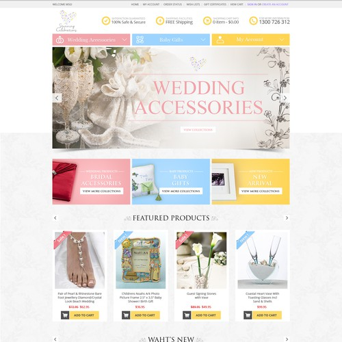 fun feminine Design will win this Contest for Stunning Celebrations Wedding/giftware website