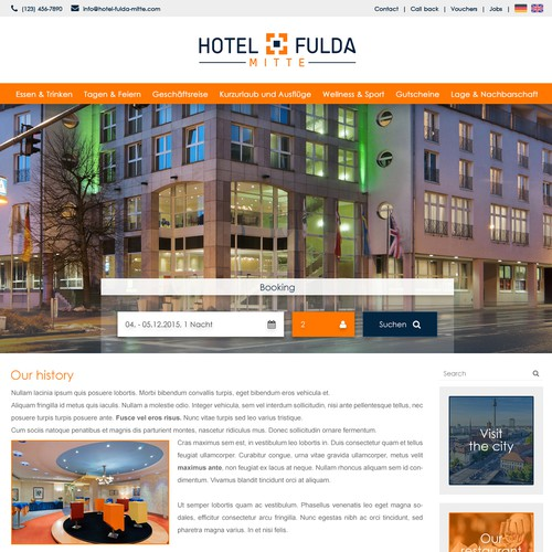 A modern 4 star business hotel web design