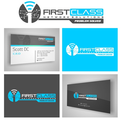 Logo and business card for a tech produc