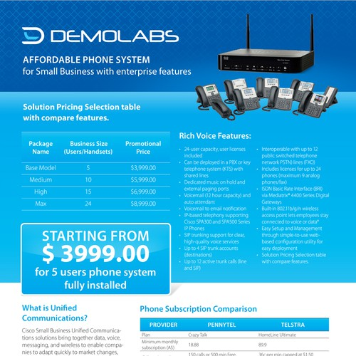 Create the next brochure design for Demo Labs