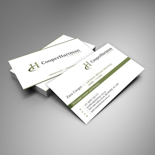logo and business card for Cooper Hartman Lawyers