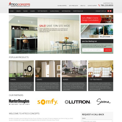 Homepage for home furnishing website