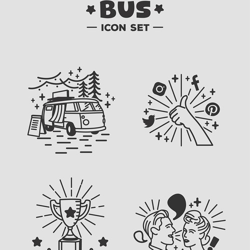 Illustrative icon fot photobooth bus