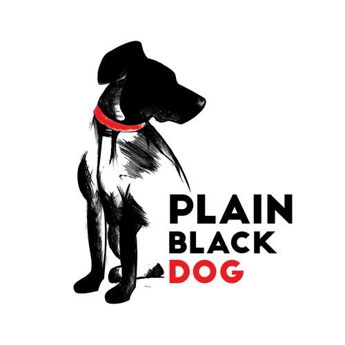 logo concept for plain black dog