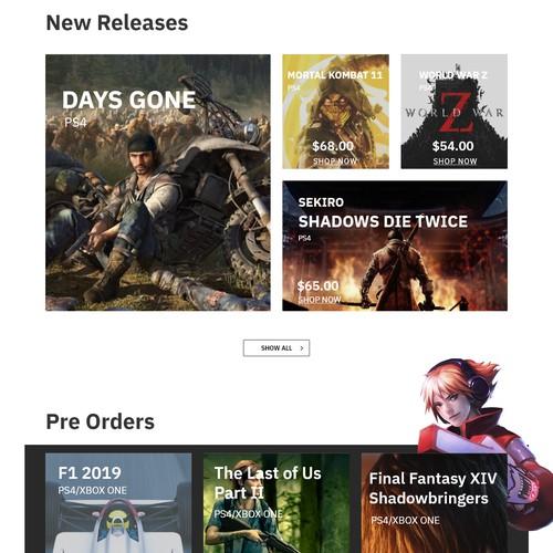 Video-game oriented e-commerce site design concept
