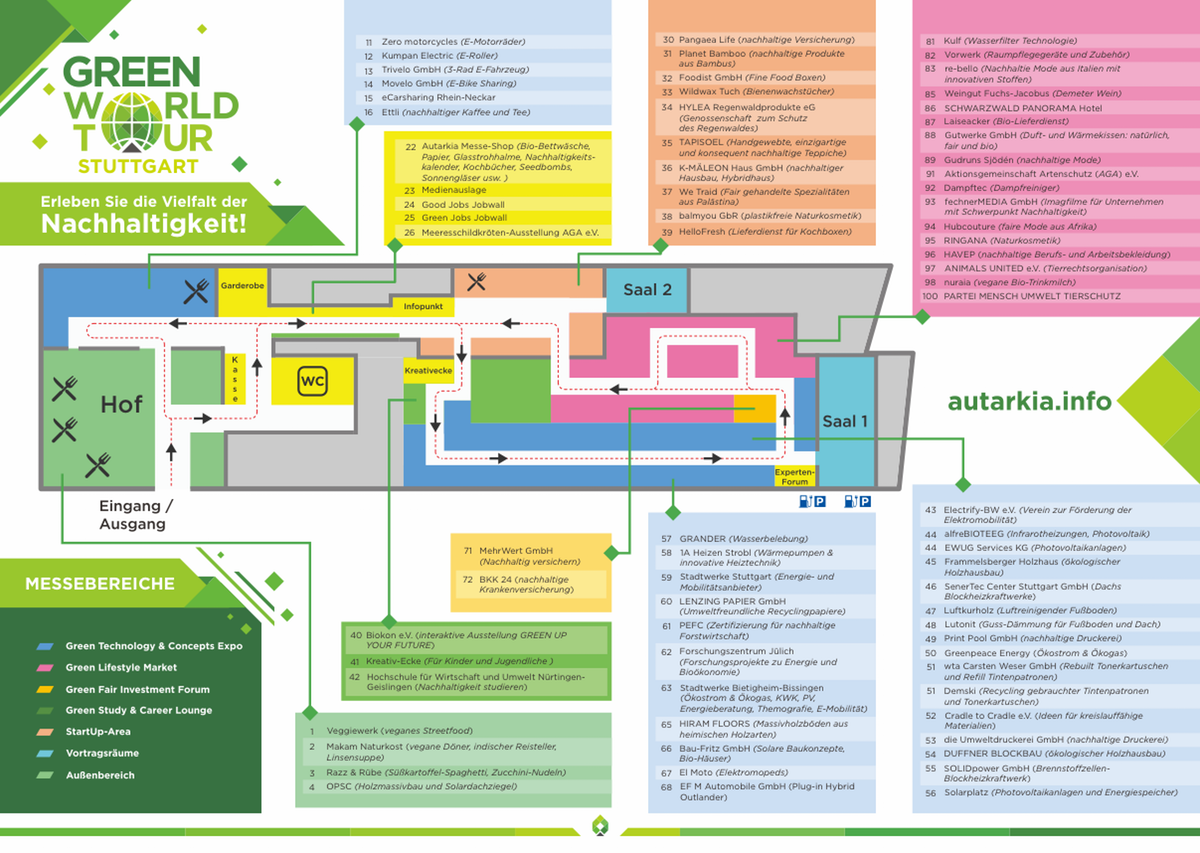 Map for a exhibition/fair Stuttgart 2018 + Green World Tour München Flyer