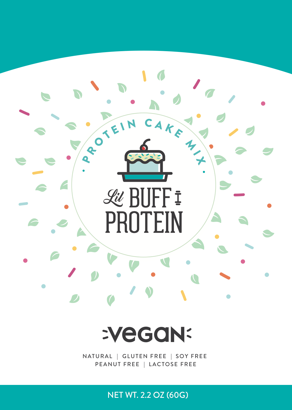 Packaging for a protein cake mix company