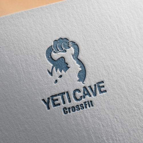 Yeti raising a kettle-bell logo concept