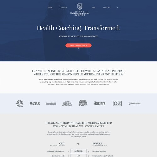 Modern Ivy League style Website Design for the Institute of Transformational Nutrition