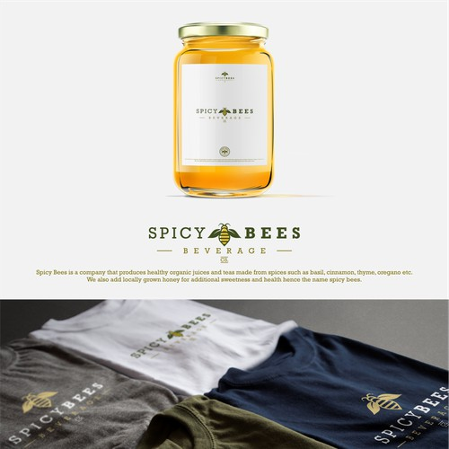 Logo for Spicy Bees, company who produces healthy organic juices and teas made from spieces such as basil and etc.