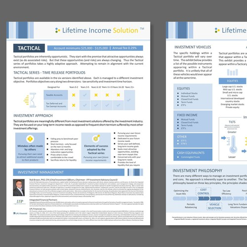 1 page document for a Financial company
