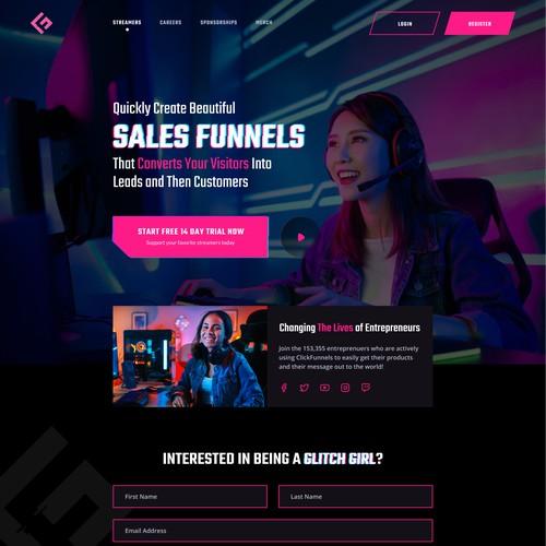 Gaming/Streaming Platform for Girls Homepage Design