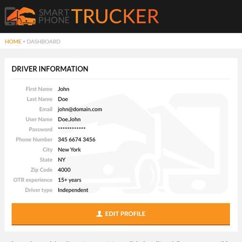 Dashboard for trucking company