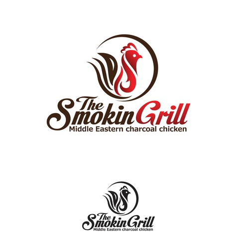 Create a logo capturing the smell and taste of charcoal chicken that everyone loves
