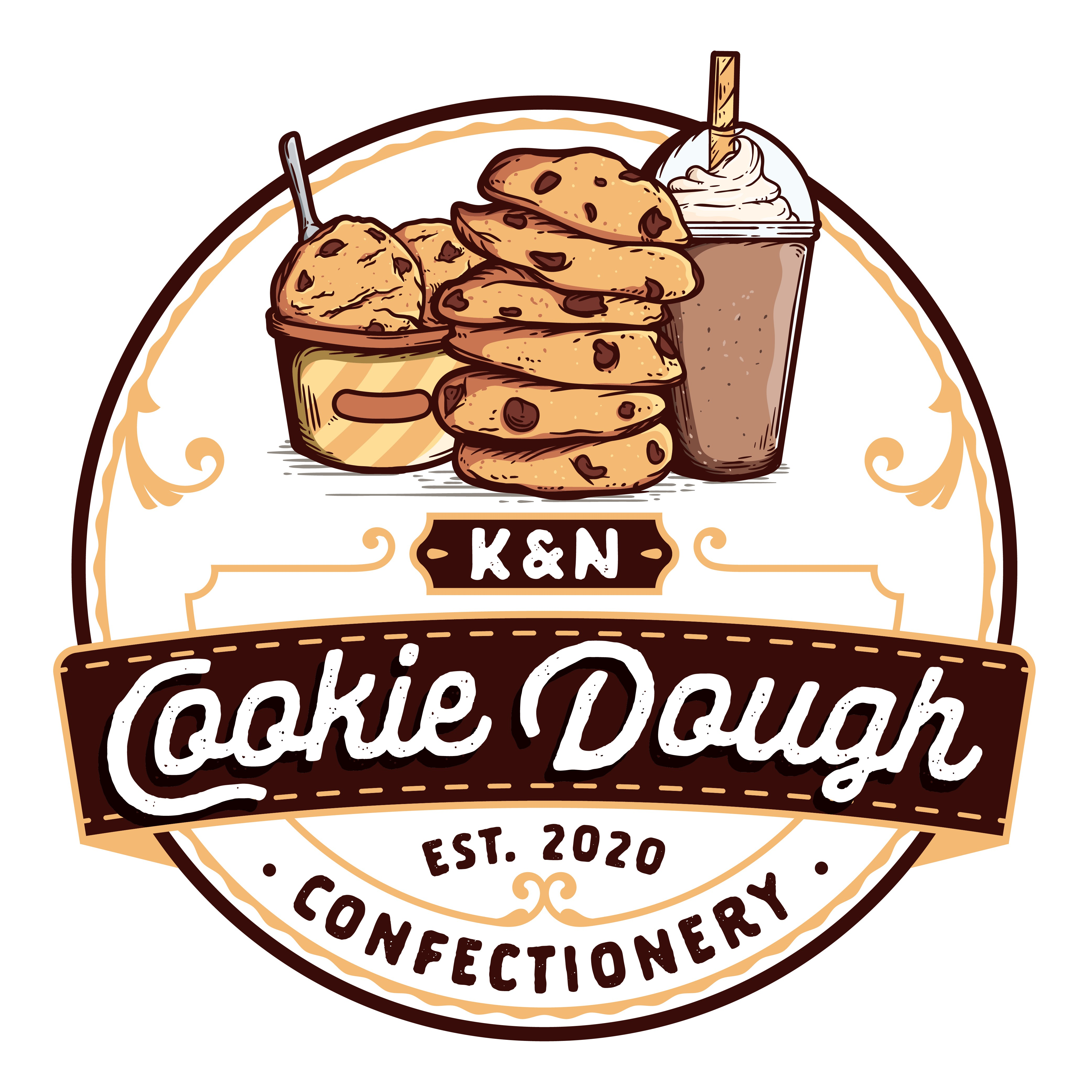 An eye catching cookie dough confectionery logo that appeals to all ages!
