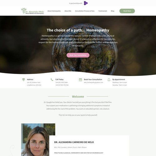 Clean and impactful website for homeopathy therapist