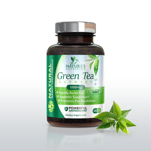 green tea label for supplement company